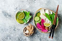 Vegan asian udon noodles soup bowl with ginger and mushrooms broth, tofu, snap peas, zucchini, watermelon radish and lime Royalty Free Stock Photography