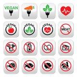 Vegan, aucune viande, végétarien, boutons sans lactose réglés illustration stock