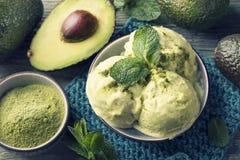Vegan Avacado Ice Cream. With fresh mint and matcha powder royalty free stock photo