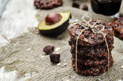 Vegan avocado cashew butter oats chocolate cookies Stock Photography