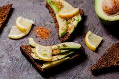 Vegan avocado sandwich Royalty Free Stock Images