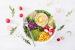 Vegan avocado sweet corn lunch bowl with hummus, red cabbage, radish and sprouts royalty free stock photos