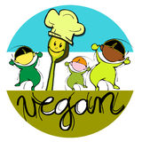 Vegan Baby Chef, Cartoon For Children Royalty Free Stock Image