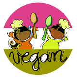 Vegan Baby Chef, Cartoon For Children-African-Indian Royalty Free Stock Images