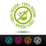 100% vegan badge, logo, icon. Flat vector illustration on white background. Can be used business company. 100% vegan badge, logo, icon. Flat vector illustration Stock Photo