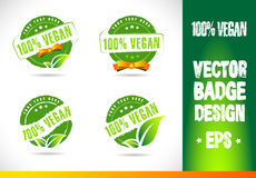 100% Vegan Badge Logo Vector. 100% Vegan Badge Logobadge label seal stamp logo text design green leaf template vector eps Stock Image