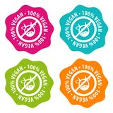 100% vegan Badges. Eps10 Vector. 100% vegan Badges. Eps10 Vector buttons Stock Illustration