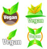 Vegan Badges Logo Set with Green Leafs Stock Photo