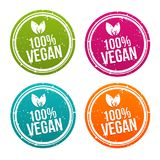 100% Vegan badges set in different colors. Eps10 Vector for eat smart Royalty Free Stock Photo