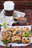 Vegan baked oatmeal with pecans Stock Photo