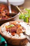 Vegan Bean Chili Served On Rice Royalty Free Stock Photos