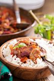 Vegan bean chili served on rice Royalty Free Stock Photos