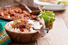 Vegan bean chili served on rice Royalty Free Stock Photography