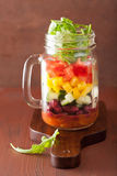 Vegan bean vegetable salad in mason jar Stock Photos