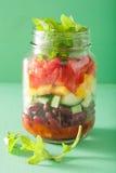 Vegan bean vegetable salad in mason jar Royalty Free Stock Photography
