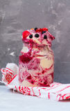 Vegan berry ice-cream shake in a jar Stock Images