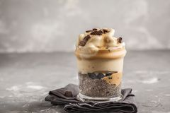 Vegan breakfast, chia pudding and banana ice cream with chocolat. E. Healthy trend, vegan concept, Clean eating food stock photo