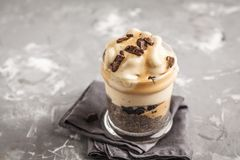Vegan breakfast, chia pudding and banana ice cream with chocolat. E. Healthy trend, vegan concept, Clean eating food stock images
