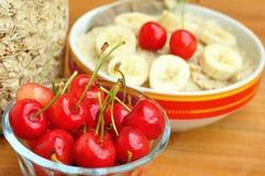 Vegan breakfast with oatmeal porridge and cherries Stock Photo
