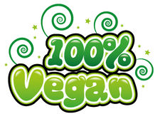 100% Vegan. In bubble font Royalty Free Stock Photo