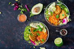 Vegan buddha bowl dinner food table. Healthy food. Healthy vegan lunch bowl. Fritter with lentils and radish, avocado, carrot sala. D. Flat lay. Top view stock image