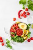 Vegan buddha bowl. healthy lunch bowl with avocado, tomato, swee Stock Image