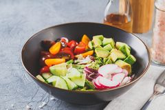 Vegan buddha bowl. Healthy vegetarian salad with cherry tomatoes, cucumber, radish,, avocado and lettuce royalty free stock photo