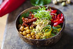 Vegan Buddha bowl with vegetables and chickpeas. Vegan Buddha bowl with chickpeas, courgette, sundried tomatoes and sprouts stock image