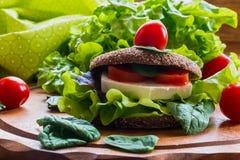 Vegan burger with lettuce, fresh cherry tomatoes and feta cheese. Burger: vegan burger with lettuce, fresh cherry tomatoes and feta cheese on wooden background Stock Images