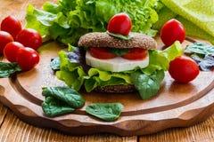 Vegan burger with lettuce, fresh cherry tomatoes and feta cheese. Burger: vegan burger with lettuce, fresh cherry tomatoes and feta cheese on wooden background Stock Image