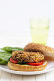 Vegan burger with spinach Stock Photo