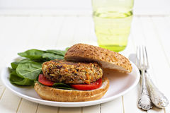 Vegan burger with spinach Royalty Free Stock Photos