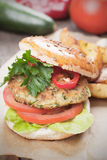 Vegan burger. With tomato and lettuce, healthy vegetarian version of classic american fast food Stock Photos