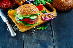 Vegan burger with vegetables stock photo