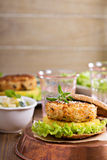 Vegan burgers with beans and vegetables Royalty Free Stock Image