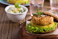 Vegan burgers with beans and vegetables Royalty Free Stock Photos