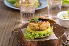 Vegan burgers with beans and vegetables Royalty Free Stock Photography
