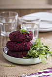 Vegan burgers with beetroot and beans Stock Photo