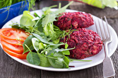 Vegan burgers with beetroot and beans Royalty Free Stock Photos
