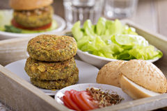 Vegan burgers with chickpeas and vegetables Royalty Free Stock Images