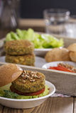Vegan burgers with chickpeas and vegetables Royalty Free Stock Photography