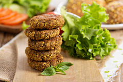 Vegan burgers with lentils and pistashios Stock Photos