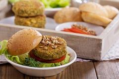 Vegan burgers with lentils and pistashios Stock Photos