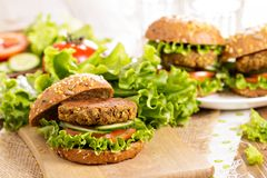 Vegan burgers with lentils and pistashios Royalty Free Stock Image