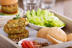 Vegan burgers with lentils and pistashios Royalty Free Stock Images