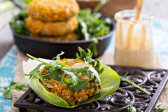 Vegan burgers with sweet potato and chickpeas Stock Image