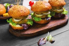 Vegan burgers with vegetables Royalty Free Stock Photos