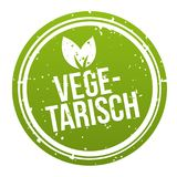 Vegan Button Badge - German-Translation: Vegetarisch Banner. Eps10 Vector Stock Illustration