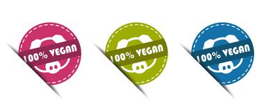 100% Vegan Buttons - Vector Illustration - Isolated on White. Background Royalty Free Stock Photos
