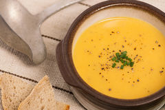 Vegan Carrot and Potato Soup Stock Photography
